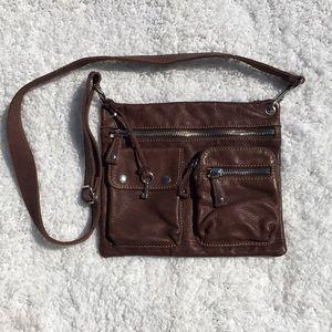 Fossil Brown Leather Multi Pocket Crossbody Bag